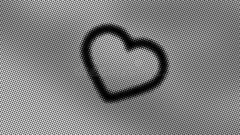 Progettazione astratta, modelli geometrici, fondo nero, struttura di piccoli punti bianchi, forma di cuore, pronta a mandare un s fotografie stock