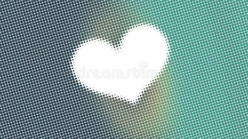 Progettazione astratta, modelli geometrici, piccoli punti del fondo bianco, cuore, pronto a mandare un sms a, struttura verde immagine stock