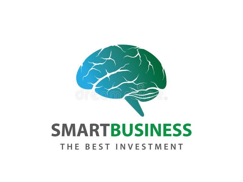 Progettazione astuta di logo di vettore dettagliata cervello umano di verde blu royalty illustrazione gratis