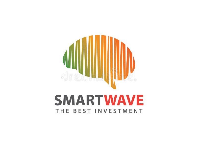 Progettazione astuta di logo di vettore di onde cerebrali royalty illustrazione gratis