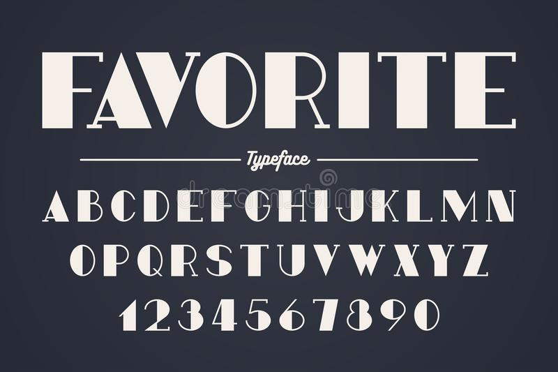 Progettazione audace decorativa della fonte di vettore di avanguardia, alfabeto illustrazione di stock