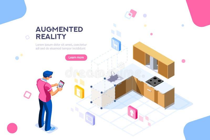 Progettazione aumentata di vettore della mobilia di realtà illustrazione di stock