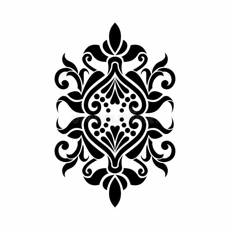 Progettazione barrocco del tatuaggio di Mehndi del damasco illustrazione vettoriale