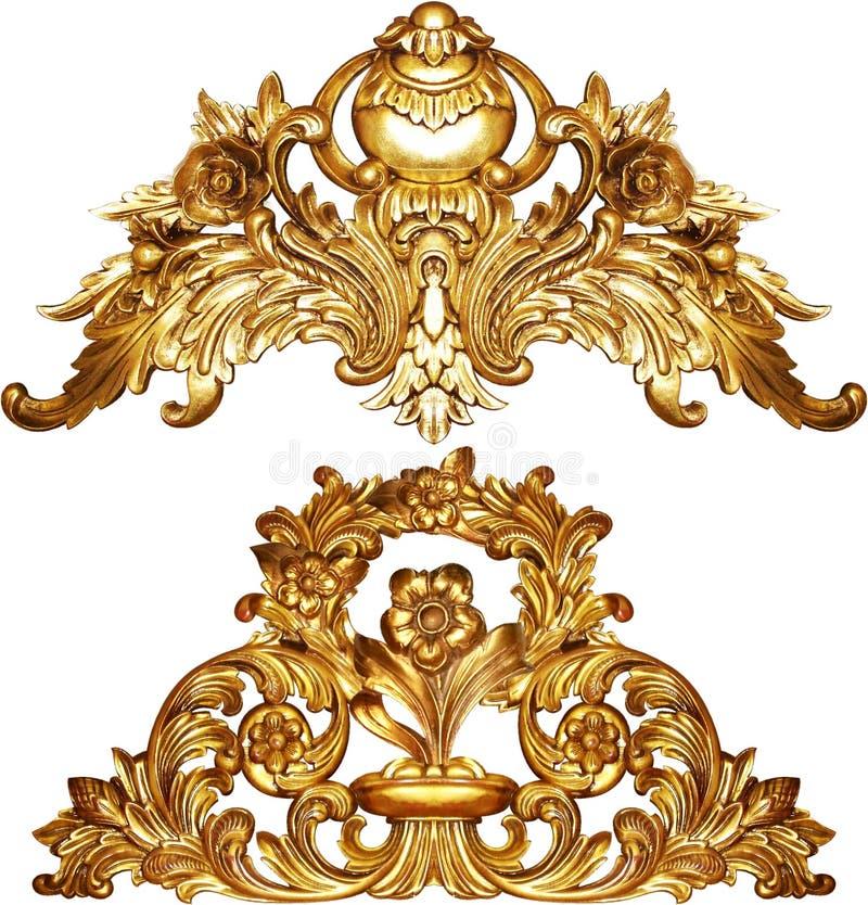 Progettazione barrocco dorata dell'ornamento fotografia stock
