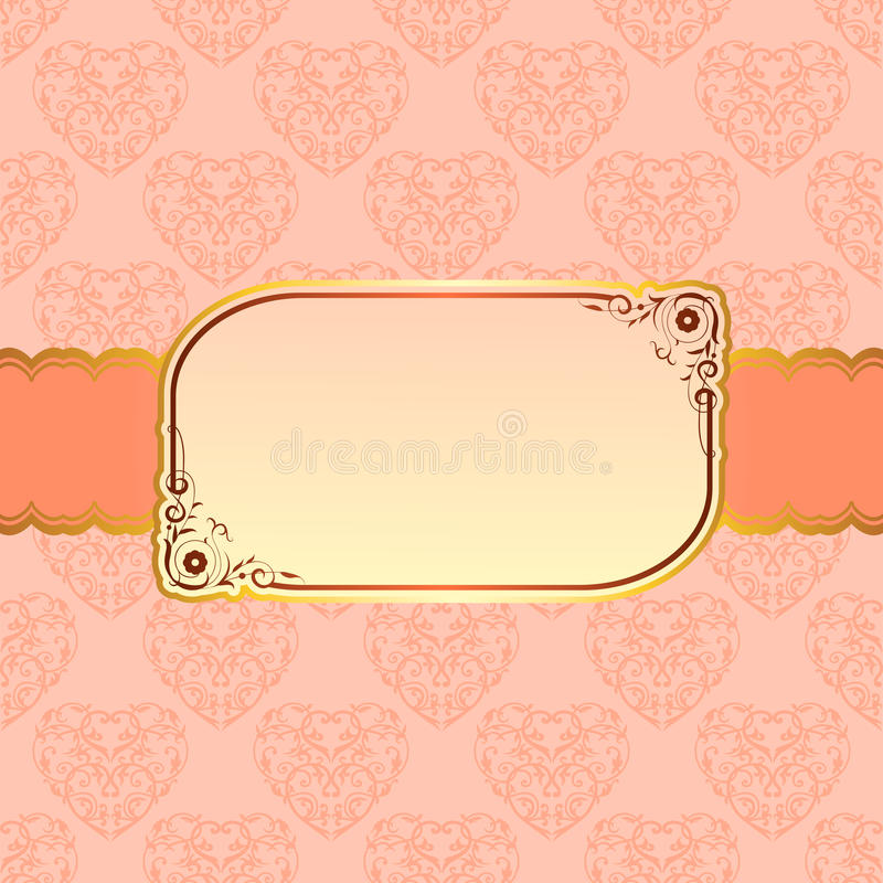Progettazione beige elegante della struttura per la cartolina d'auguri illustrazione vettoriale