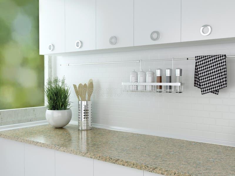 Progettazione bianca della cucina fotografie stock libere da diritti