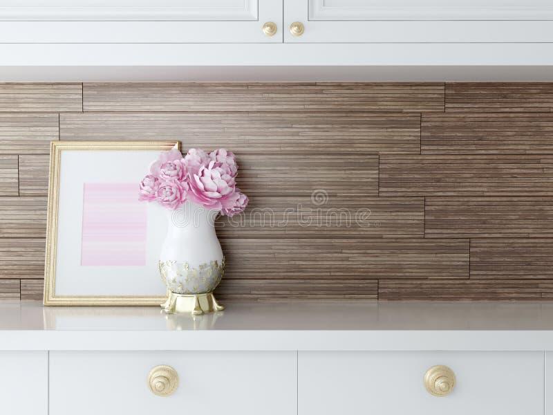 Progettazione bianca della cucina fotografie stock