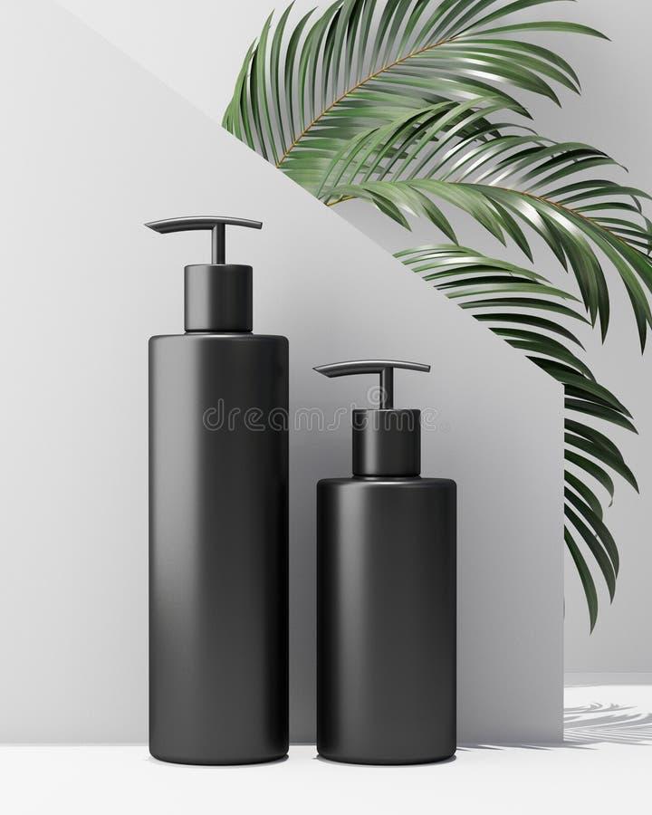 Progettazione bianca di crema cosmetica naturale, siero, bottiglia in bianco dello skincare che imballa con l'erba delle foglie,  illustrazione di stock