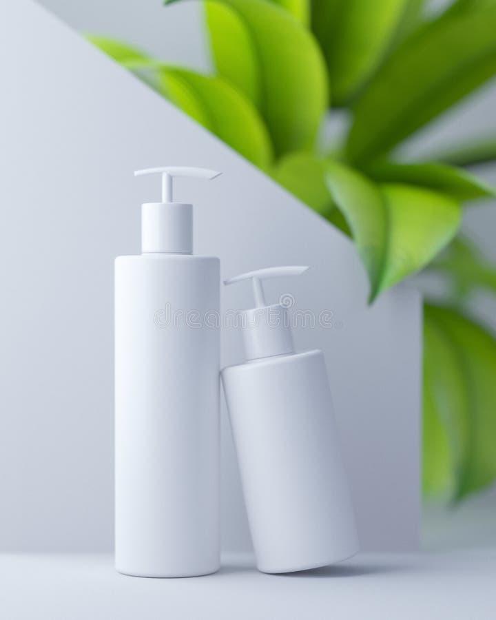 Progettazione bianca di crema cosmetica naturale, siero, bottiglia in bianco dello skincare che imballa con l'erba delle foglie,  illustrazione vettoriale