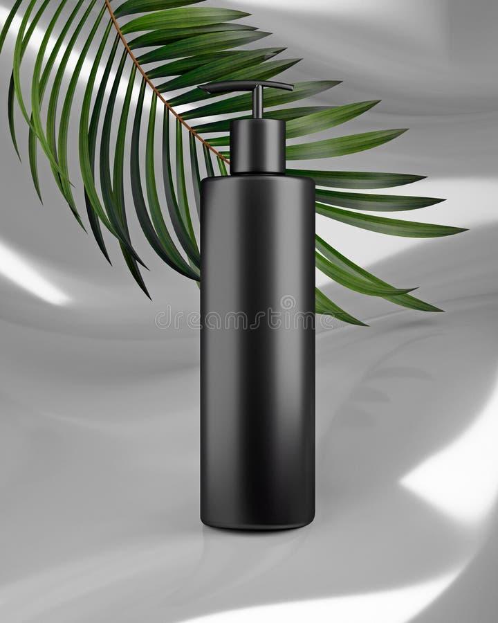 Progettazione bianca di crema cosmetica naturale, siero, bottiglia in bianco dello skincare che imballa con l'erba delle foglie,  fotografia stock