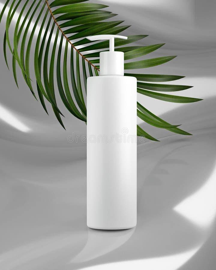 Progettazione bianca di crema cosmetica naturale, siero, bottiglia in bianco dello skincare che imballa con l'erba delle foglie,  fotografia stock libera da diritti