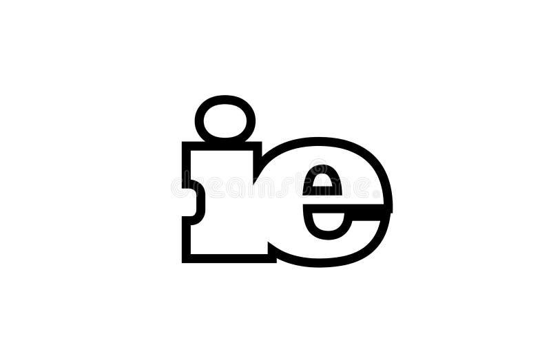 progettazione in bianco e nero collegata dell'icona di logo di combinazione di lettera di alfabeto dello IE cioè royalty illustrazione gratis