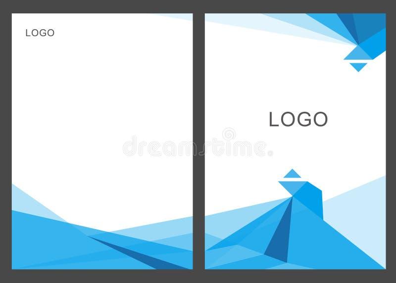 Progettazione blu del modello dell'aletta di filatoio dell'opuscolo dell'opuscolo del rapporto annuale del poligono del triangolo illustrazione di stock
