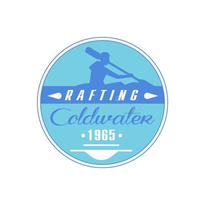 Progettazione blu dell'emblema di Coldwater di rafting illustrazione vettoriale
