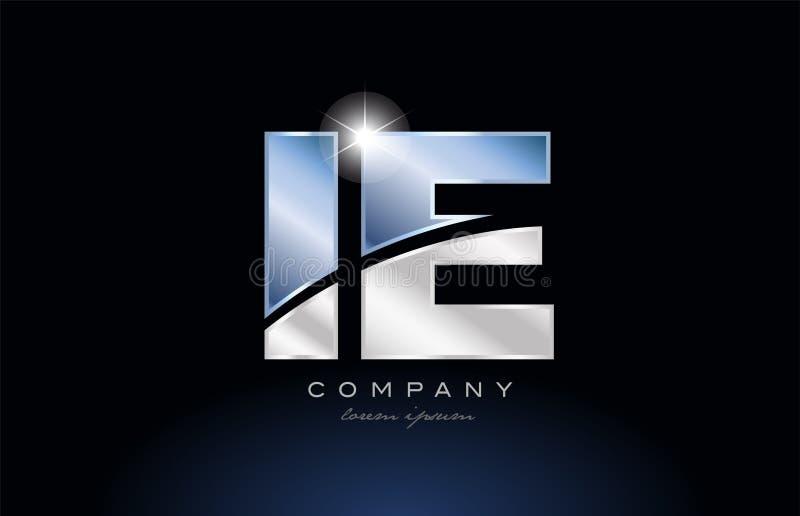 progettazione blu dell'icona della società di logo dello IE della lettera di alfabeto del metallo cioè royalty illustrazione gratis