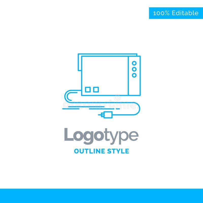 Progettazione blu di logo per audio, carta, esterno, interfaccia, suono Bu illustrazione vettoriale