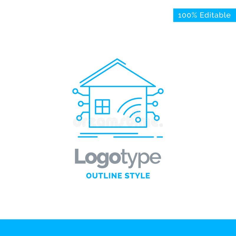 Progettazione blu di logo per automazione, casa, casa, astuta, rete Bu royalty illustrazione gratis