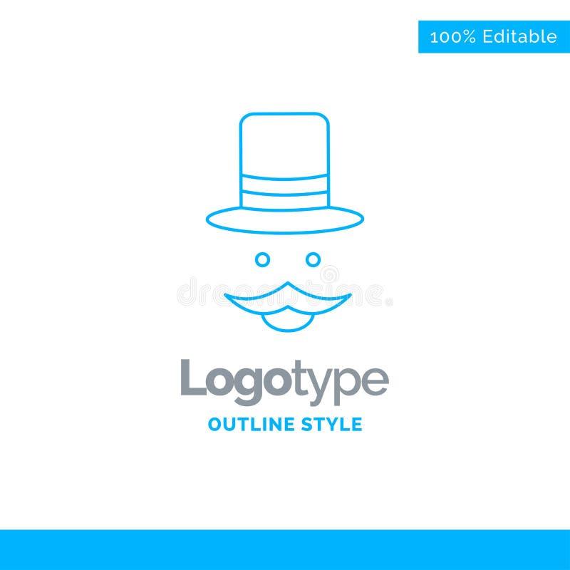 Progettazione blu di logo per i baffi, pantaloni a vita bassa, movember, cappello, uomini bus illustrazione di stock