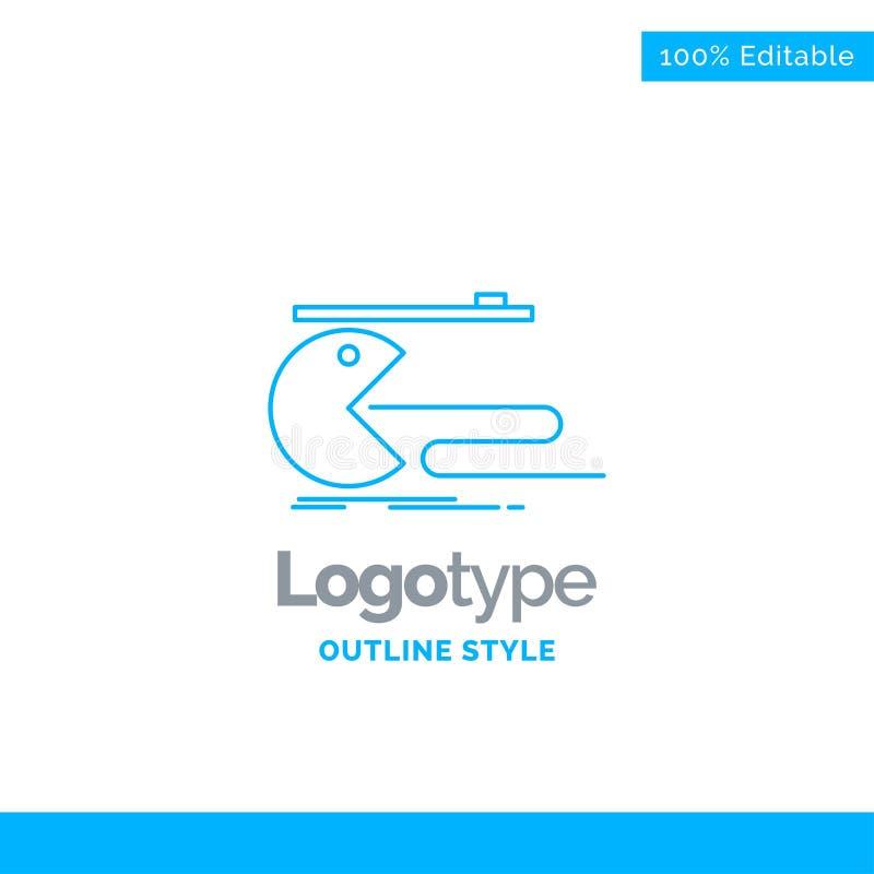 Progettazione blu di logo per il carattere, computer, gioco, gioco, pacman illustrazione di stock