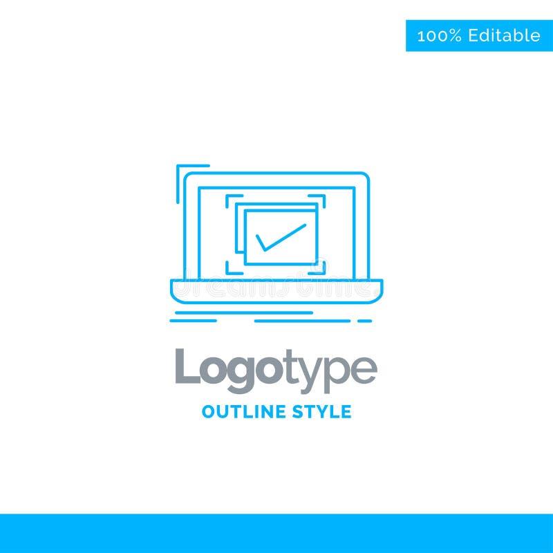 Progettazione blu di logo per il sistema, monitoraggio, lista di controllo, buona, APPROVAZIONE Bu royalty illustrazione gratis
