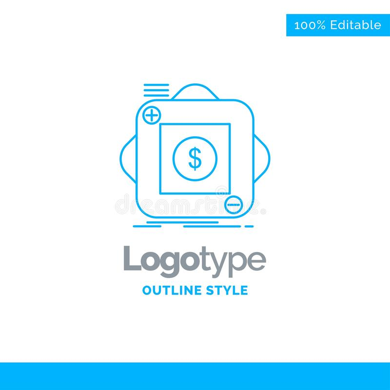 Progettazione blu di logo per l'acquisto, deposito, app, applicazione, cellulare illustrazione vettoriale