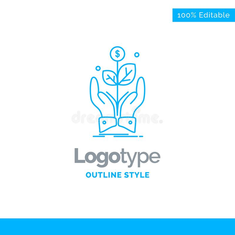 Progettazione blu di logo per l'affare, società, crescita, pianta, aumento bus illustrazione di stock