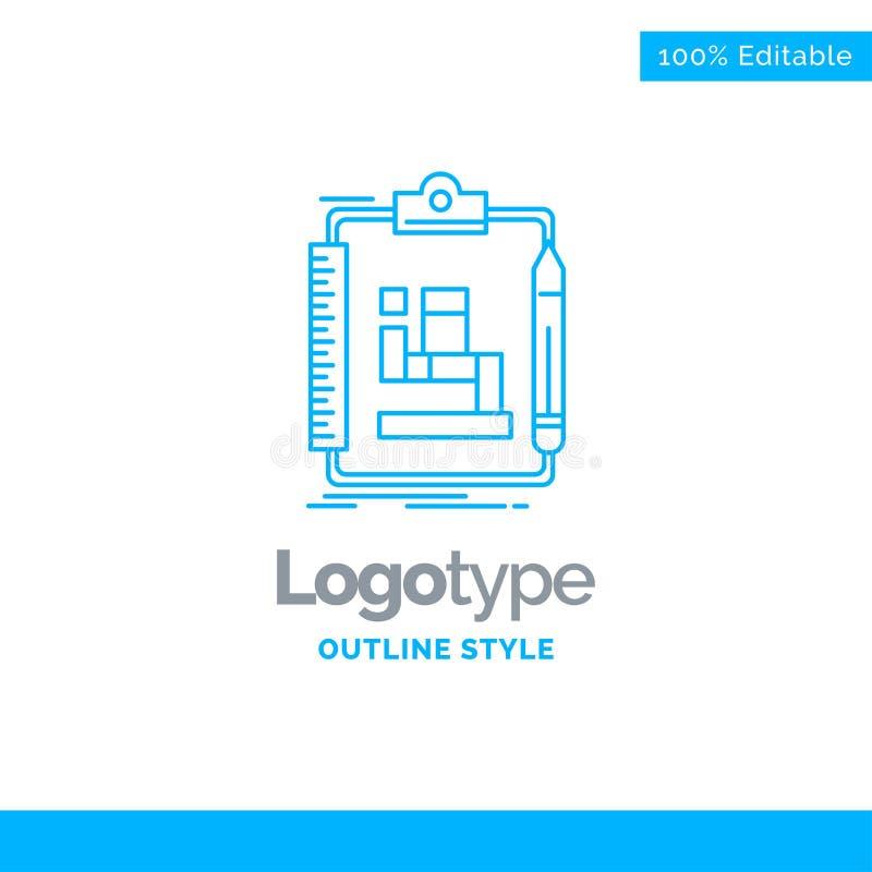 Progettazione blu di logo per l'algoritmo, processo, schema, lavoro, flusso di lavoro illustrazione vettoriale