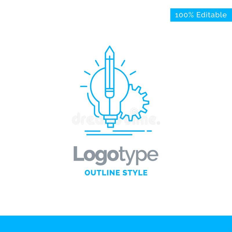 Progettazione blu di logo per l'idea, comprensione, chiave, lampada, lampadina Busine fotografia stock