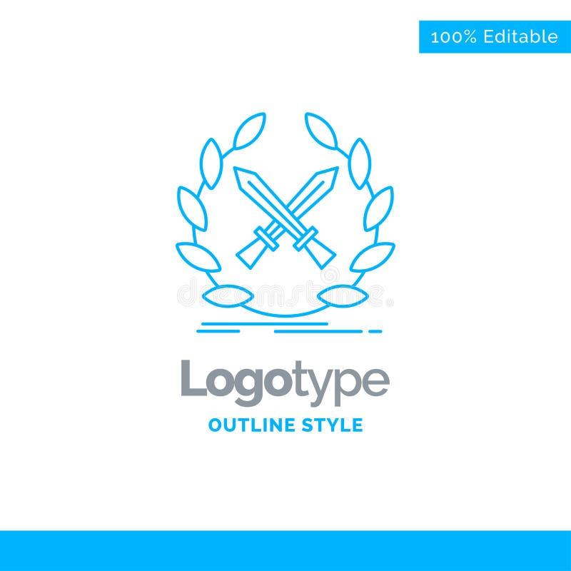 Progettazione blu di logo per la battaglia, emblema, gioco, etichetta, spade Busine illustrazione vettoriale