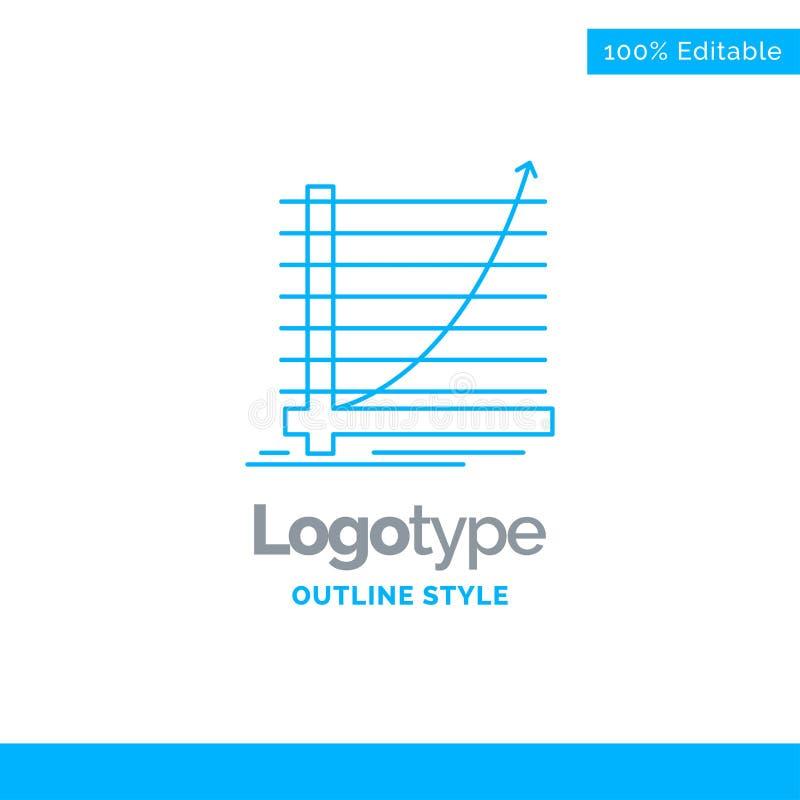 Progettazione blu di logo per la freccia, grafico, curva, esperienza, scopo Busi illustrazione di stock