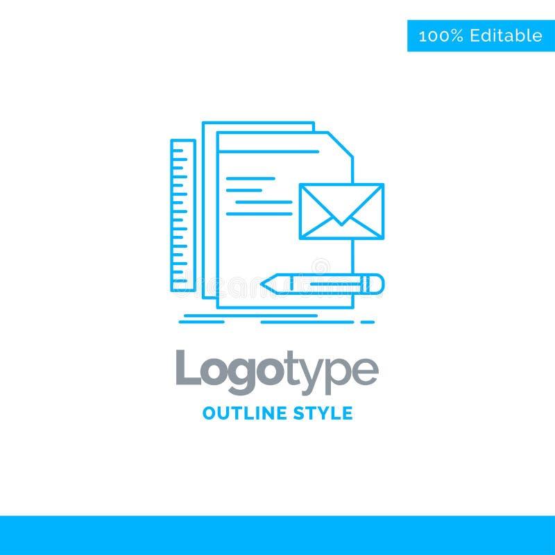 Progettazione blu di logo per la marca, società, identità, lettera, presentat illustrazione di stock