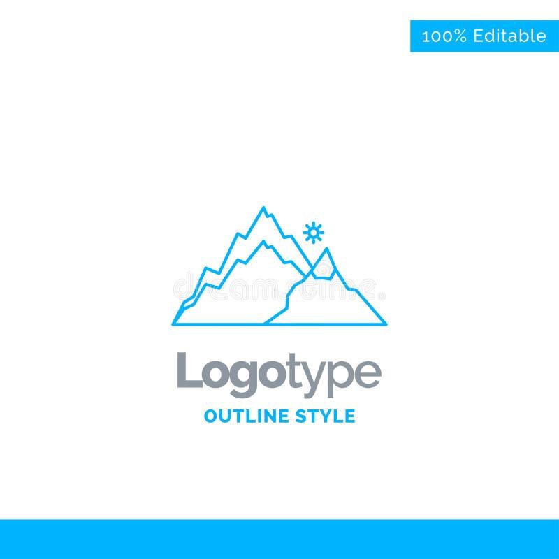 Progettazione blu di logo per la montagna, paesaggio, collina, natura, albero Bu immagine stock libera da diritti
