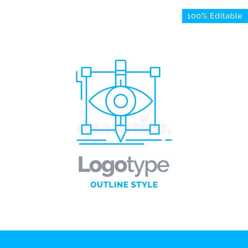 Progettazione blu di logo per progettazione, progetto, schizzo, schizzare, visivo B illustrazione vettoriale