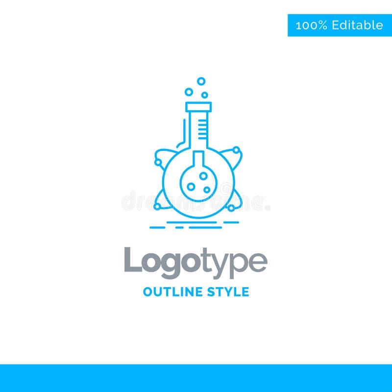 Progettazione blu di logo per ricerca, laboratorio, boccetta, tubo, developm illustrazione vettoriale