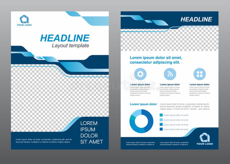 Progettazione blu di vettore di tono della copertina di dimensione A4 del modello dell'aletta di filatoio della disposizione royalty illustrazione gratis