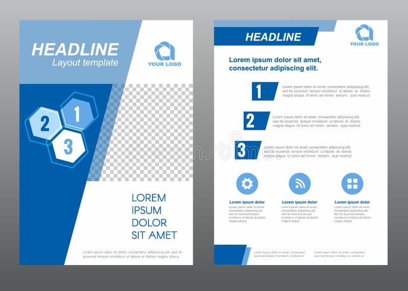 Progettazione blu di vettore di tono di inclinazione della copertina di dimensione A4 del modello dell'aletta di filatoio della d illustrazione di stock