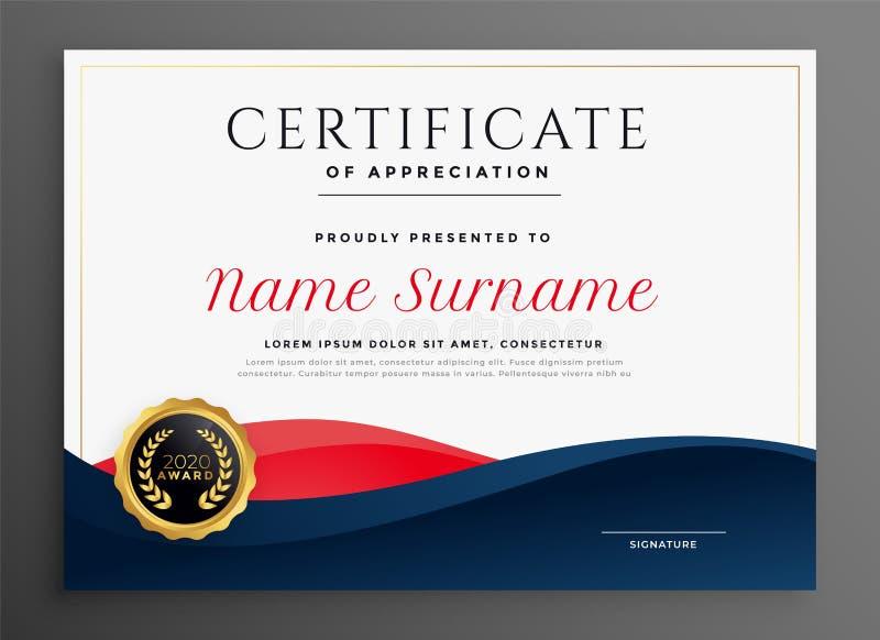 Progettazione blu e rossa elegante del modello del certificato del diploma illustrazione vettoriale