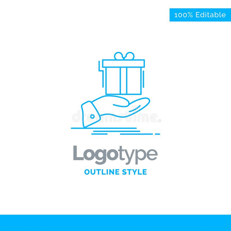 Progettazione blu per il regalo, sorpresa, soluzione, idea, compleanno di logo B fotografia stock libera da diritti