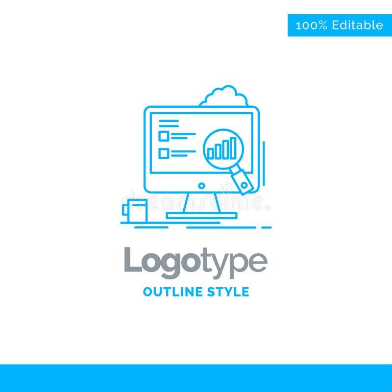 Progettazione blu per l'analisi dei dati, bordo, presentazione, computer portatile, sta di logo royalty illustrazione gratis