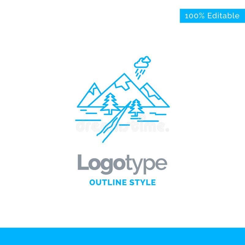 Progettazione blu per le rocce, collina, paesaggio, natura, montagna di logo B fotografie stock
