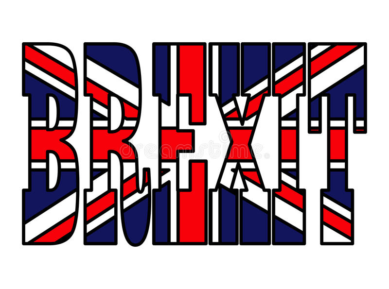 Progettazione britannica dell'icona di simbolo di vettore della bandiera del testo di Brexit Bello illustr illustrazione vettoriale