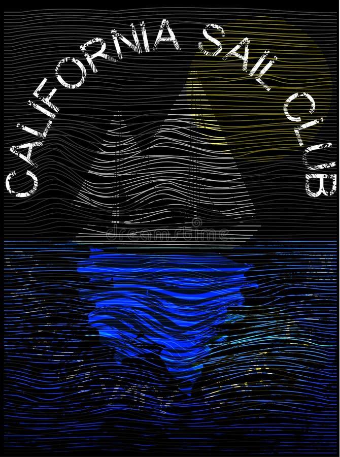 Progettazione California del manifesto di navigazione illustrazione di stock