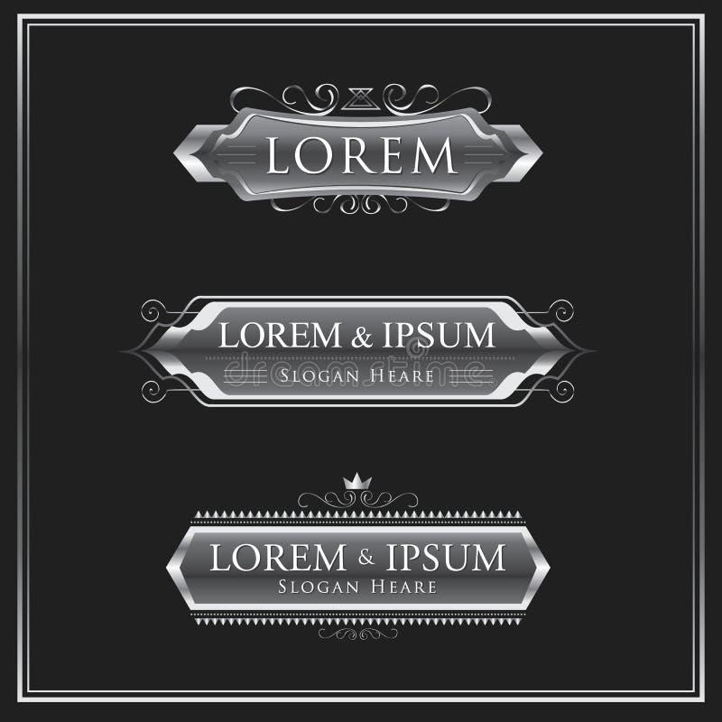 Download Progettazione Calligrafica Di Vettore Del Logos D'argento Illustrazione Vettoriale - Illustrazione di distintivi, vecchio: 56883267