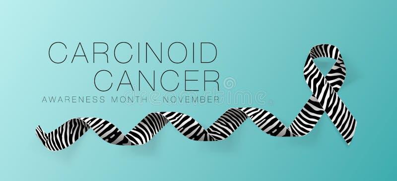 Progettazione cancroide del manifesto di calligrafia di consapevolezza del Cancro Nastro realistico della banda della zebra Novem illustrazione vettoriale