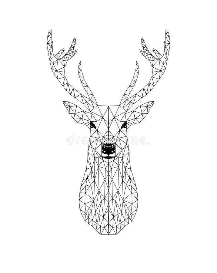 Progettazione capa dei cervi del nero di Poligonal illustrazione vettoriale