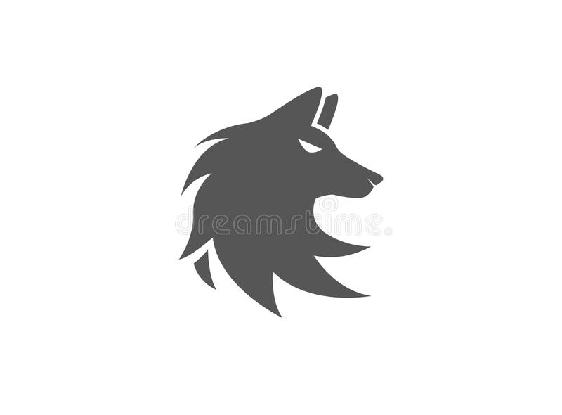 Progettazione capa dell'illustrazione del fronte della volpe di logo del lupo illustrazione di stock