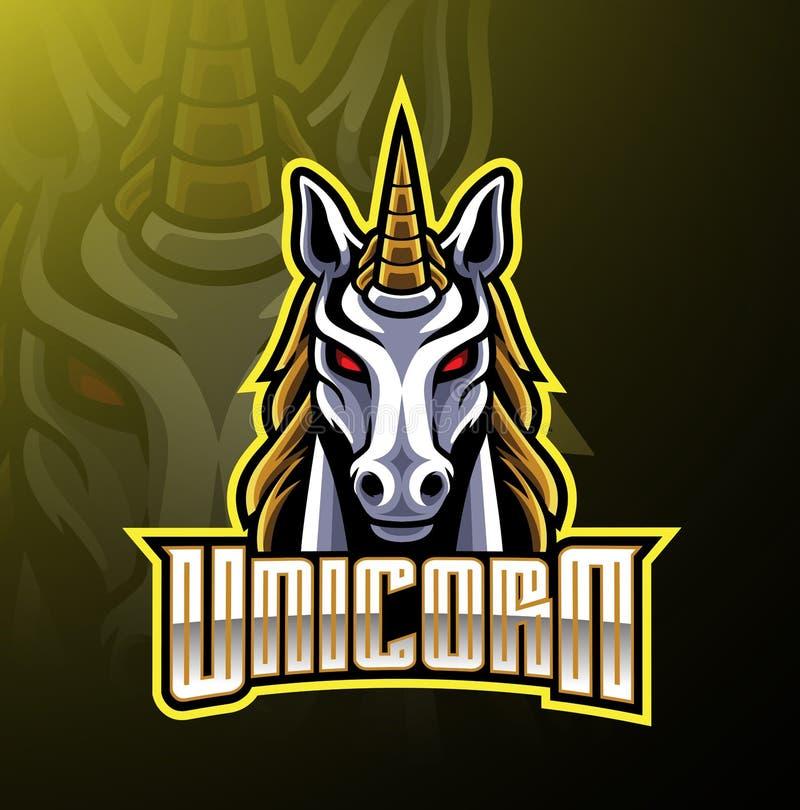 Progettazione capa di logo della mascotte dell'unicorno illustrazione vettoriale