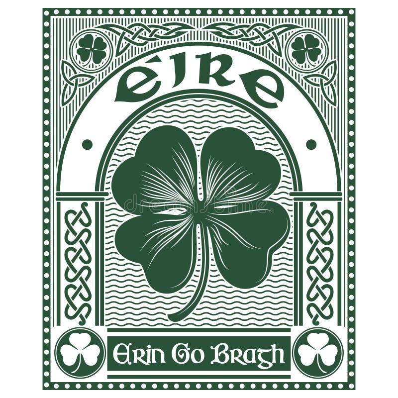 Progettazione celtica irlandese, trifoglio di stile celtico e slogan Erin Go Bragh, illustrazione sul tema del giorno della st Pa illustrazione vettoriale