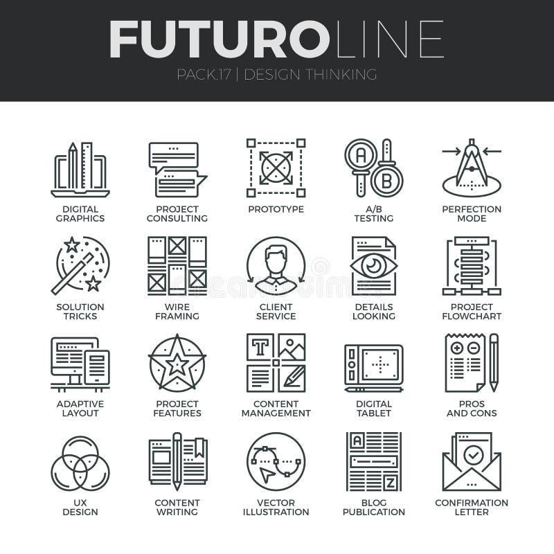 Progettazione che pensa la linea icone di Futuro messe illustrazione vettoriale