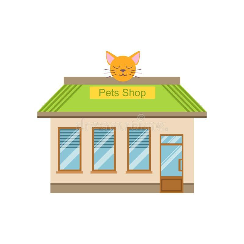 Progettazione commerciale della facciata della costruzione del negozio di animali royalty illustrazione gratis